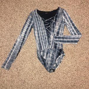 Love Culture | Long Sleeve Blue Tie Dye Bodysuit